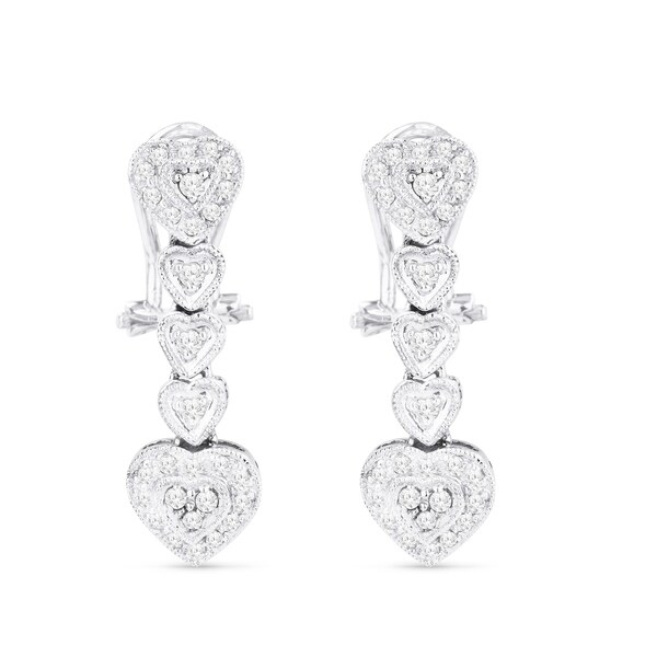 14k White Gold Earrings Round Diamond Dangling With Omega Clasp
