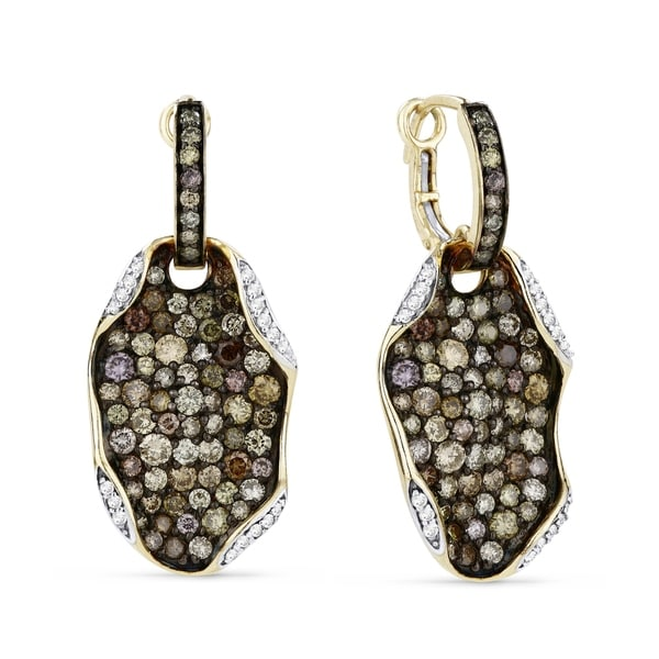 8a21d73e3 Shop 14K Yellow Gold Earrings; Round Multi Diamond Dangling Earrings with Leverback  Clasp - Free Shipping Today - Overstock - 22859290
