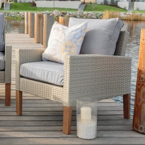 Rattan and Eucalyptus Outdoor Chair, set of 2