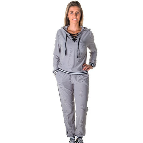 Ladies Distressed Jogger and Hoodie Set