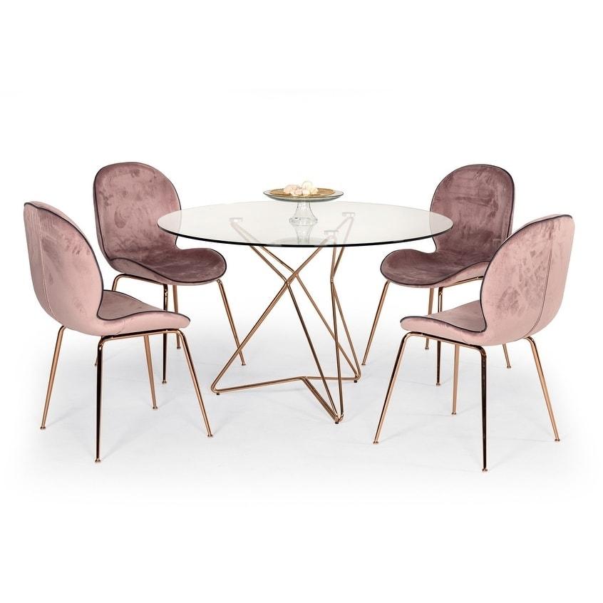 Fantastic Modrest Wendy Modern Pink Velvet Rosegold Dining Chair Set Of 2 Uwap Interior Chair Design Uwaporg