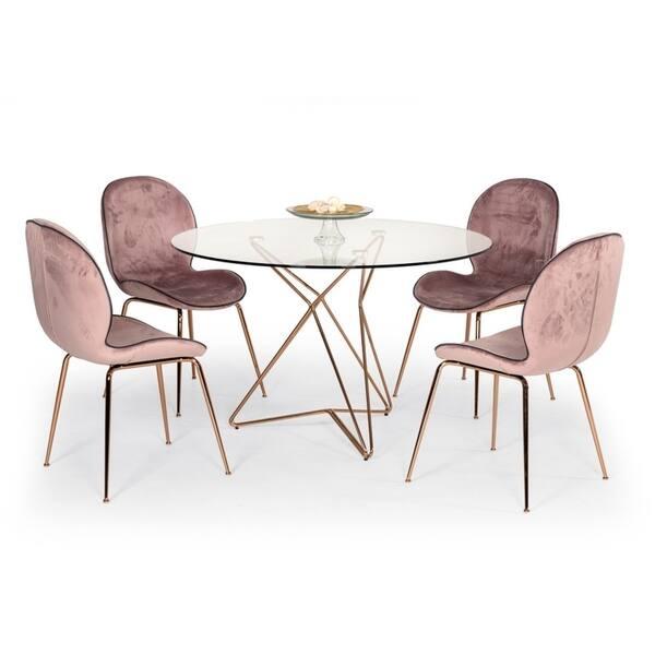 Shop Modrest Wendy Modern Pink Velvet Rosegold Dining