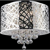 Eternity Collection Chrome Finish Stainless Steel/Crystal 6-light Flush Mount