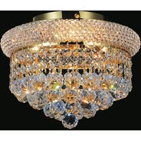 Empire Collection Goldtone Stainless Steel/Crystal 3-light Flush Mount Light