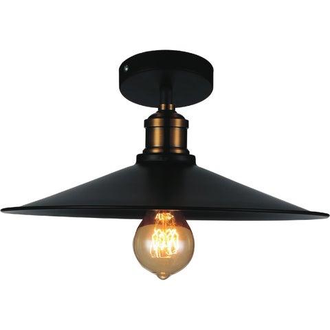 1 Light Flush Mount with Black Finish