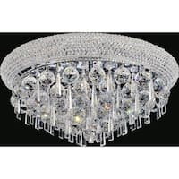 Chrome Steel Cut Glass 7-light Flushmount Fixture