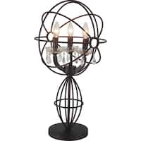 3-light Brown Stainless Steel Table Lamp