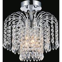 3-light Chrome Crystal Flush Mount Ceiling Light