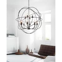 12-light Brown Finish Stainless Steel Chandelier
