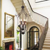 9-Light Rubbed Brown Chandelier