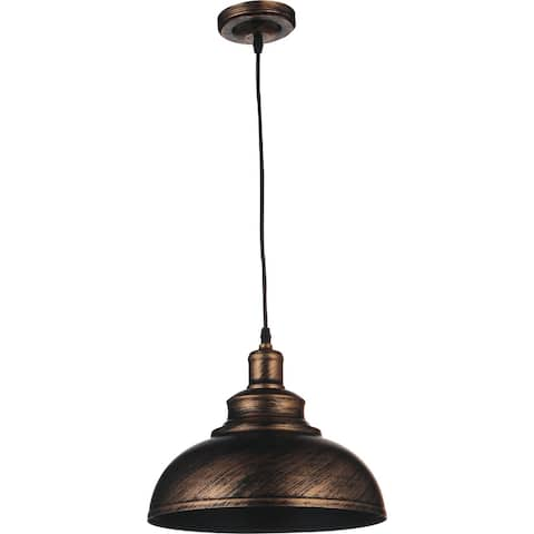 Single Light Pendant with an Antique Copper finish and simple industrial style shade