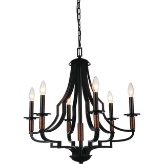 Link to Copper Grove Canillo 6-light Black Chandelier Similar Items in Outdoor Ceiling Lights