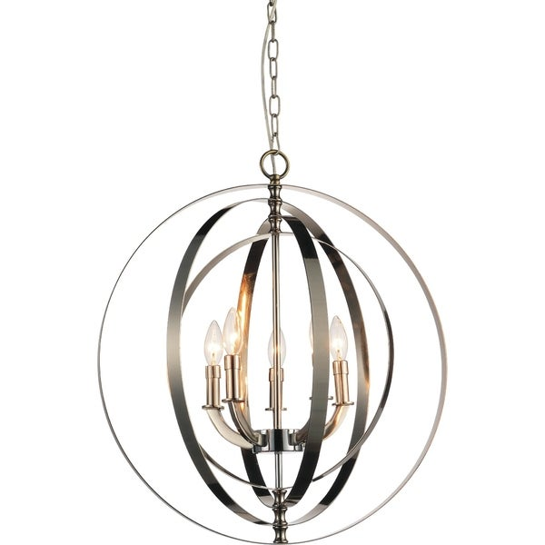 5 Light Chandelier With Bright Nickel Finish