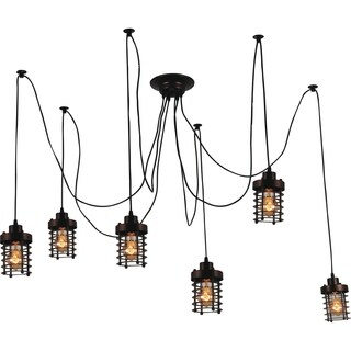 Chocolate-finished 6-light Rustic Chandelier with Individual Hanging Bulbs