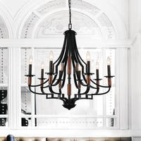 8-light Black Finish Stainless Steel Chandelier