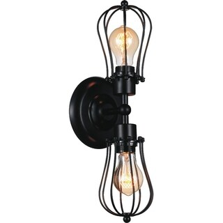 2 Light Wall Sconce with Black Finish