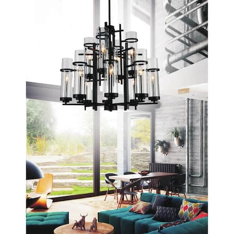 12 Light Chandelier with Black Finish