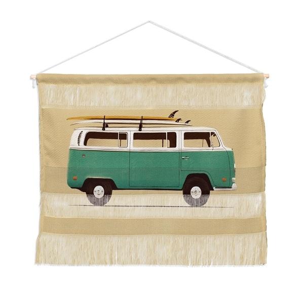Florent Bodart Famous Cars 5 Blue Van Landscape Wall Hanging Tapestry