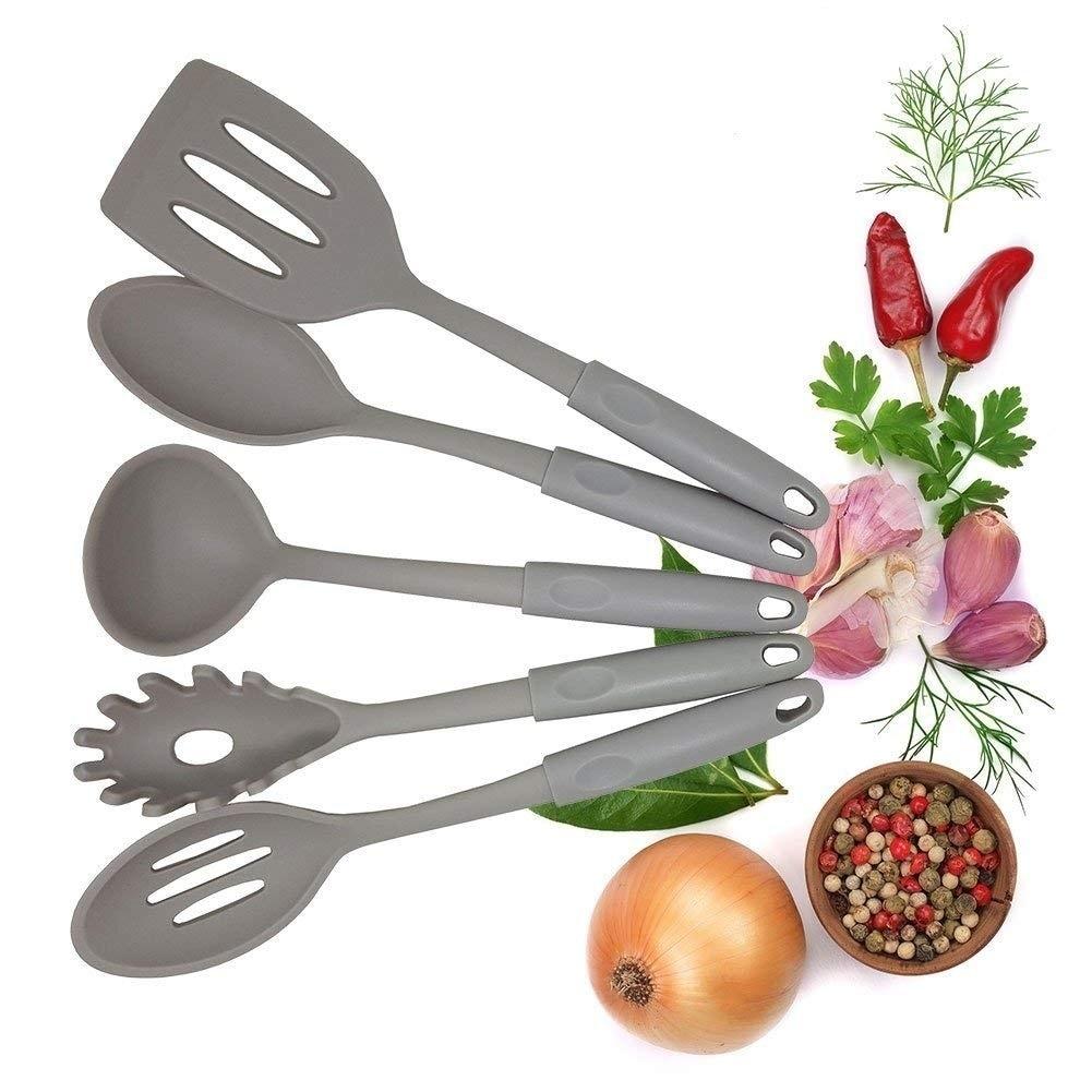 5-Piece Non stick Kitchen Gadget Utensils Set of Spoon, Pasta server,  Spatula
