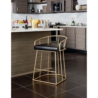 OSP Home Furnishings Mid Century Luna 26 inch Fabricated Counter Stool with Gold Base