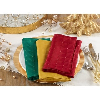 Holiday Table Napkins With Checkered Design (Set of 12)