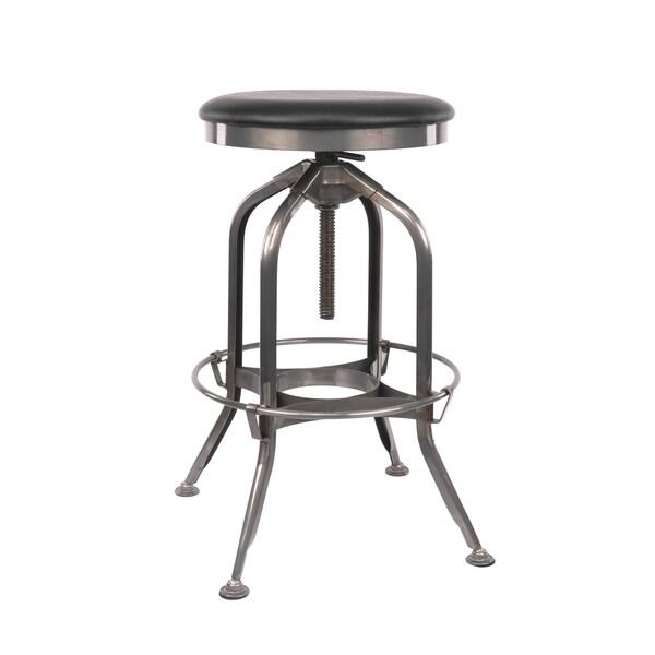 Shop Toledo Adjustable Gunmetal Padded Black Seat Steel Barstool 25