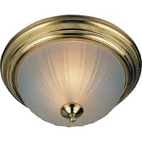 """Flush Mount 13.5"""" Wide Steel Flush Mount Ceiling Light - Polished brass"""
