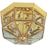 """11.5"""" Wide Copper Flush Mount Ceiling Light - Polished brass"""