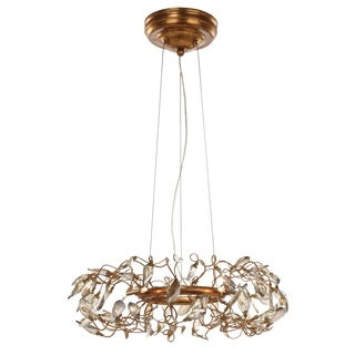 "Crystal Garden 6-light 18.25"" Wide Steel Pendant - Gold Leaf"