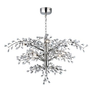 "Cluster 8-light 36.75"" Wide Steel Chandelier - Polished Nickel"