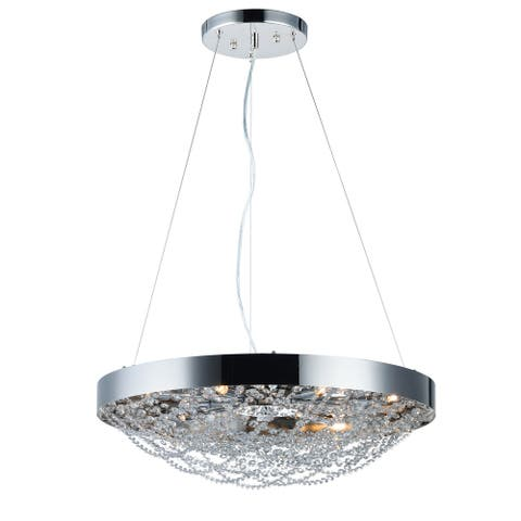 "Lace 10-light 25"" Wide Steel Pendant - Polished Nickel - Polished Nickel"