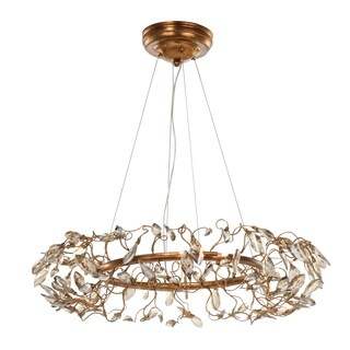 "Crystal Garden 8-light 28"" Wide Steel Pendant - Gold Leaf"