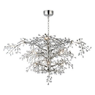 "Cluster 12-light 47"" Wide Steel Chandelier - Polished Nickel"