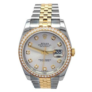 Pre-owned 36mm Rolex 18k Yellow Gold and Stainless Steel Oyster Perpetual Datejust Watch with Silver Diamond Dial - N/A - N/A