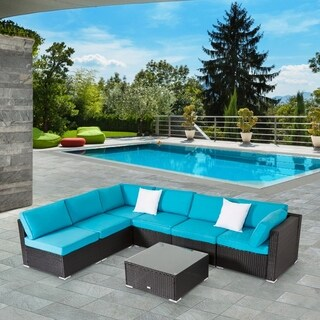 Kinbor 7 Pcs All Weather Outdoor Furniture Patio Sectional Furniture Set Cushioned Rattan Wicker Sofa Set Blue