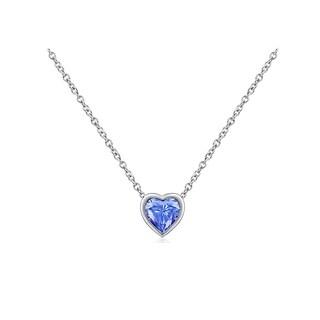 Platinum-Plated Sterling Silver Swarovski Zirconia Bezel Set Blue Heart Pendant Necklace