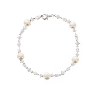 Platinum Plated Sterling Silver Cubic Zirconia Freshwater Cultured Pearl Tennis Bracelet