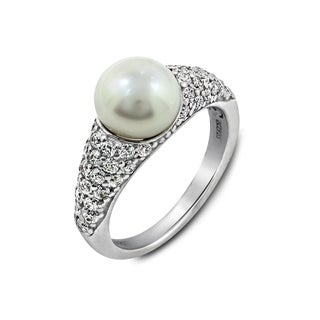 Platinum-Plated Sterling Silver Cubic Zirconia Freshwater Cultured Pearl Pave Ring, Size 7