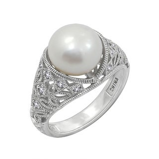 Platinum-Plated Sterling Silver Cubic Zirconia Freshwater Cultured Pearl Antique Ring