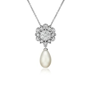 Platinum-Plated Sterling Silver Swarovski Zirconia Antique Flower with Freshwater Cultured Pearl Drop Pendant Necklace