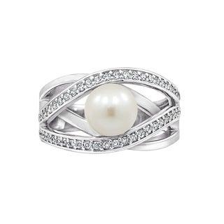 Platinum-Plated Sterling Silver Swarovski Zirconia Freshwater Cultured Pearl Open Interlocking Curve Ring