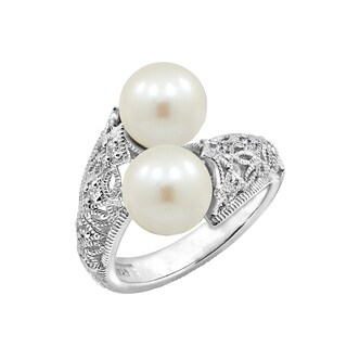 Platinum-Plated Sterling Silver Swarovski Zirconia Freshwater Cultured Pearl Antique Two-Stone Bypass Ring, Size 6