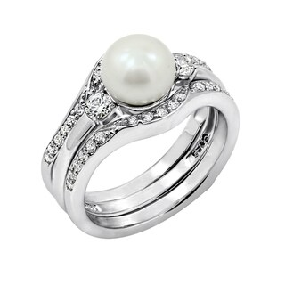 Platinum-Plated Sterling Silver Swarovski Zirconia Freshwater Cultured Pearl Ring Set with Guard Ring, Size 6