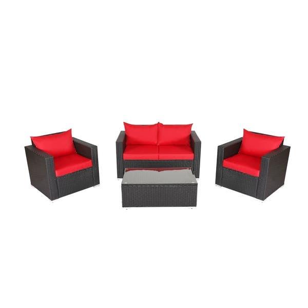 Shop Kinbor 4-piece Outdoor Patio Furniture Set Wicker Chat ...