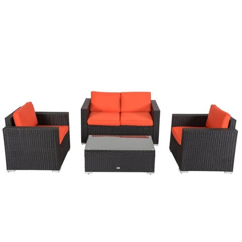2e4ff050124c Kinbor 4-piece Outdoor Patio Furniture Set Wicker Chat Set Sectional Sofa  w/ Cushions