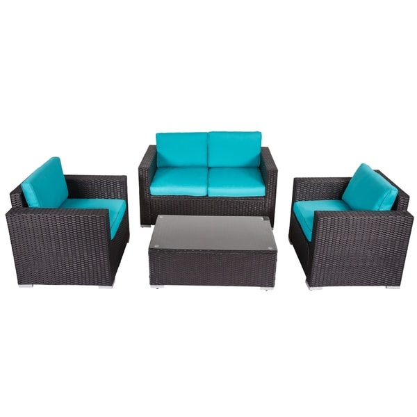 Kinbor 4 Piece Pe Rattan Outdoor Patio Furniture Set