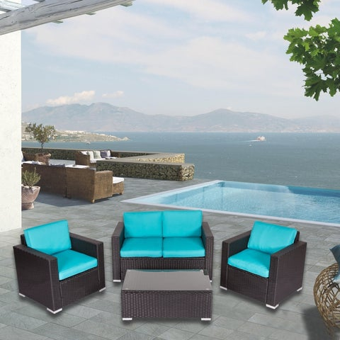 Kinbor 4 Pcs PE Rattan Sofas Outdoor Lawn Patio Pool Garden Furniture Set w/Cushions