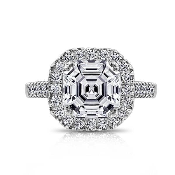 ce767f685e1444 Platinum-Plated Sterling Silver Swarovski Zirconia Asscher Cut Halo Ring