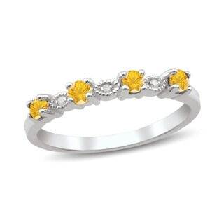 10K White Gold Genuine Birthstone Ring with Diamond Accent