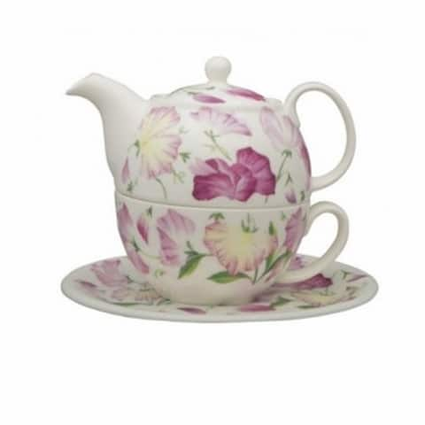 Roy Kirkham Tea for One Teapot with Tea Cup and Saucer - Sweet Pea